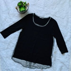 Loveappella High-low Back button 3/4 sleeve top